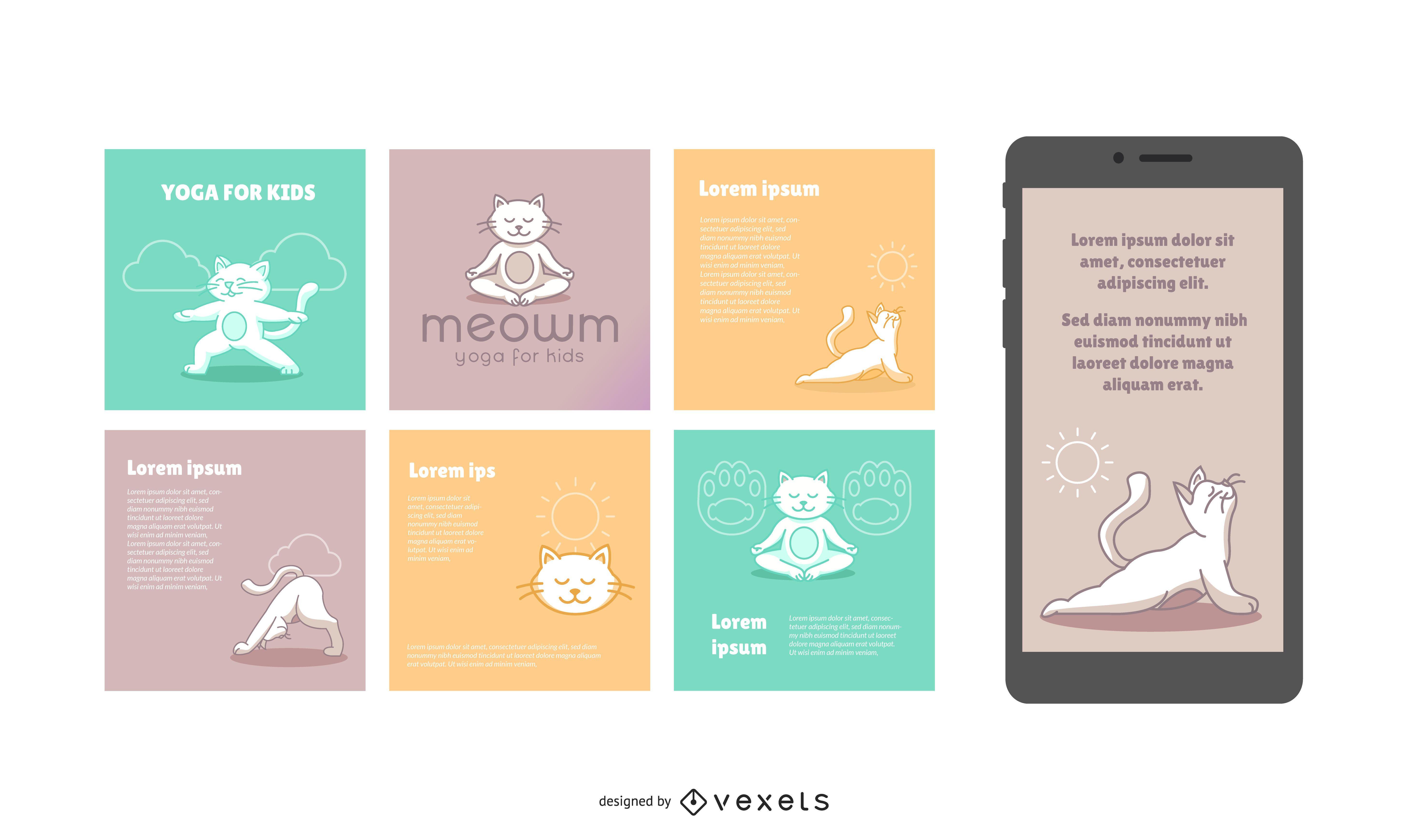 Pacote de banners sociais do Cat Yoga Studio