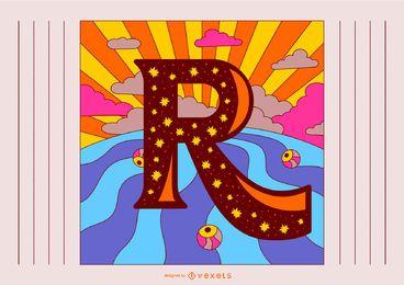 Design de tipografia retrô letra R