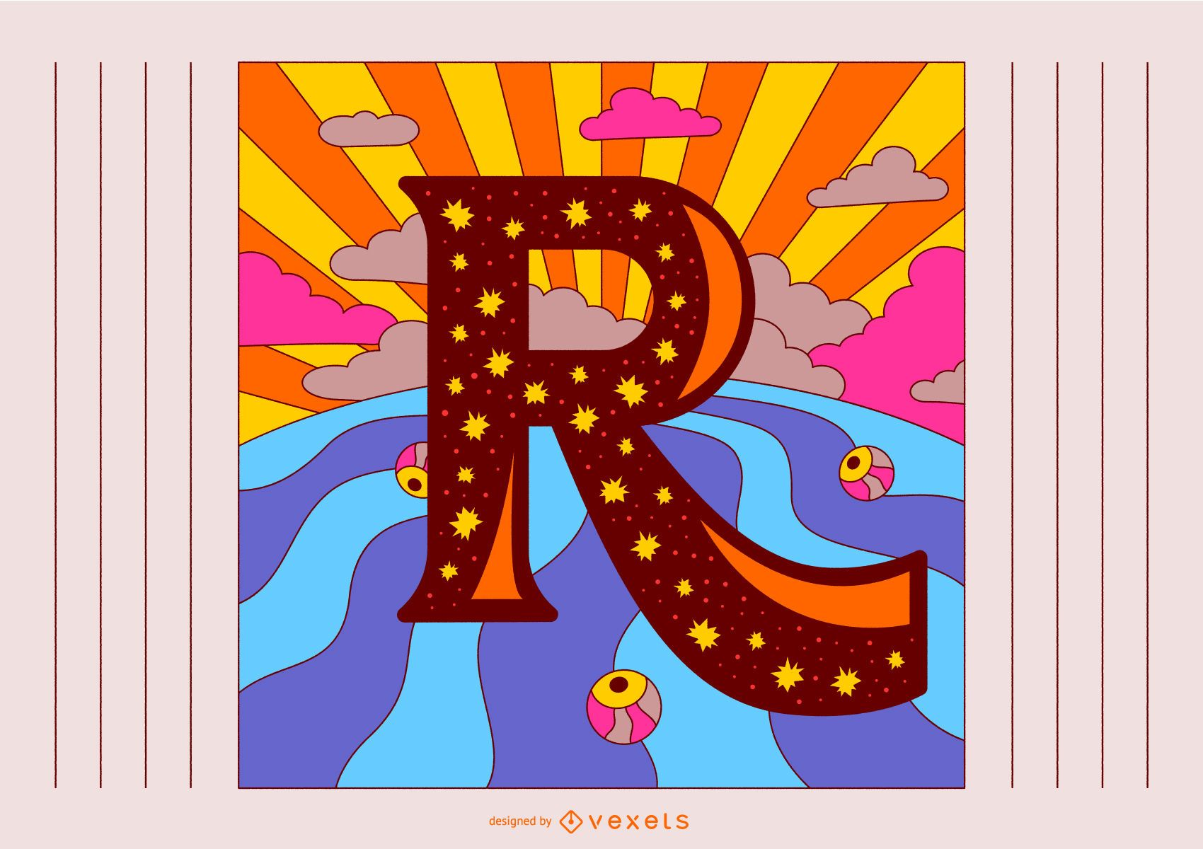 Letter R Retro Typography Design