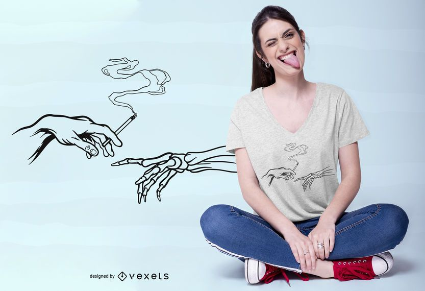 Diseño de camiseta God Hand Smoke