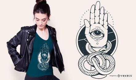 Design de camiseta de mão de cobra Hamsa