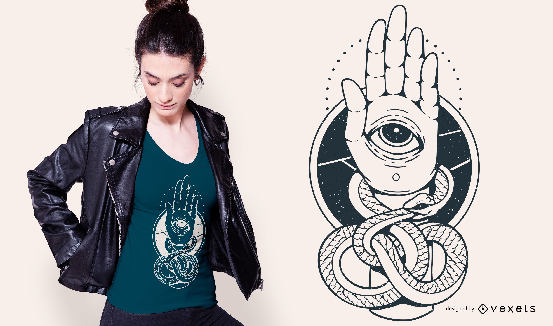 Design de camiseta de mão Snake Hamsa