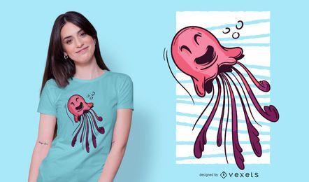 Lächelnde Qualle T-Shirt Design