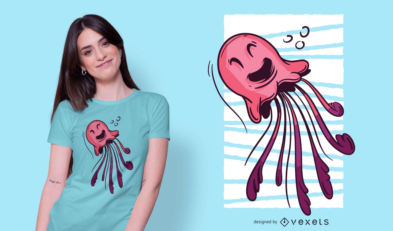 Diseño de camiseta de medusa sonriente