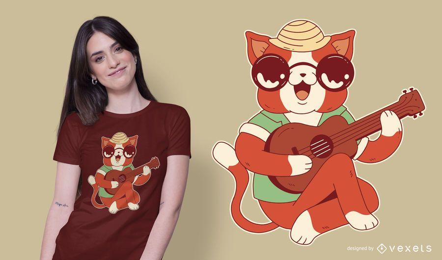 Ukelele Cat T-shirt Design