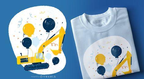 Projeto do t-shirt da escavadora do aniversário