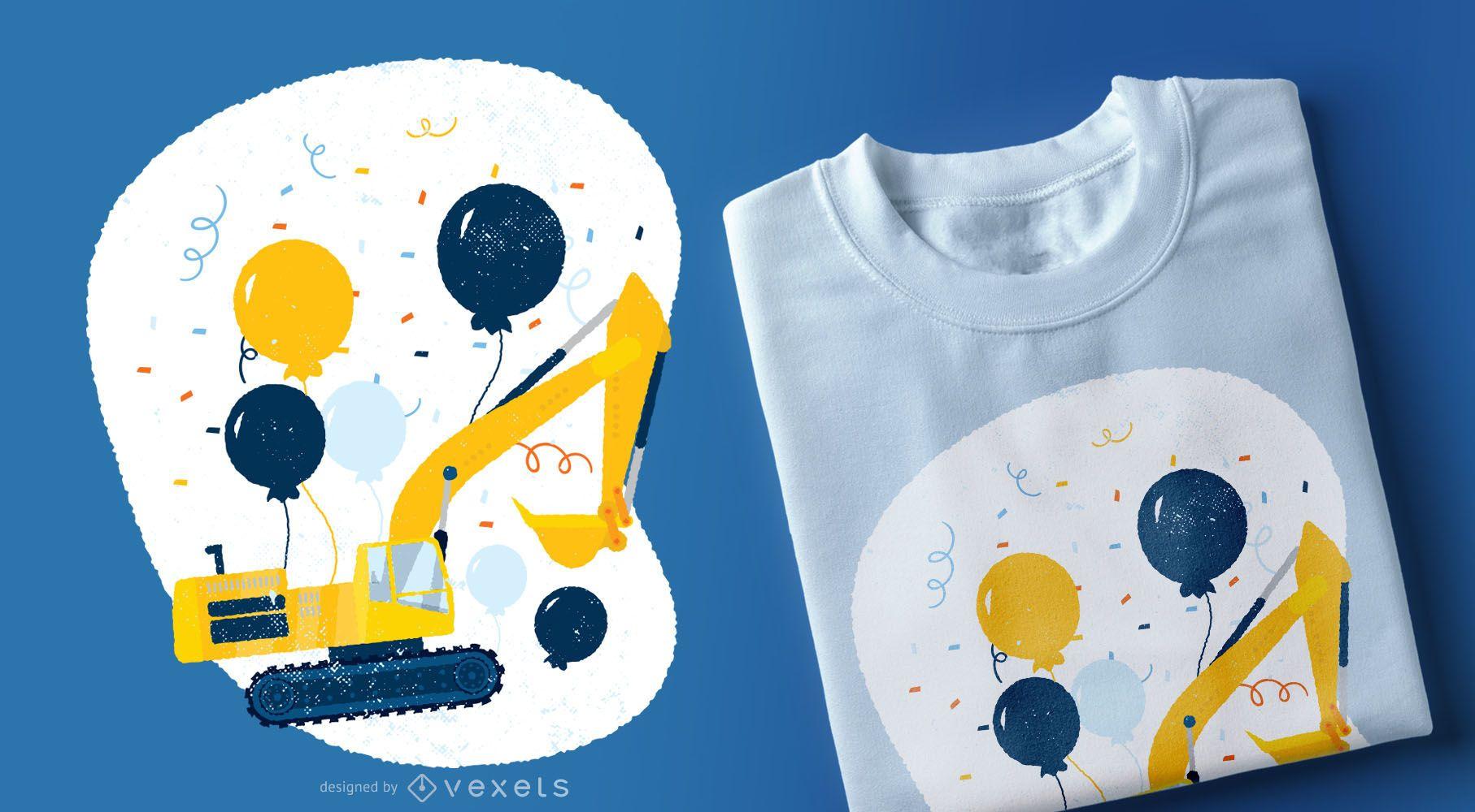 Birthday Bulldozer T-shirt Design