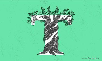 Letra T árvore tipografia Design