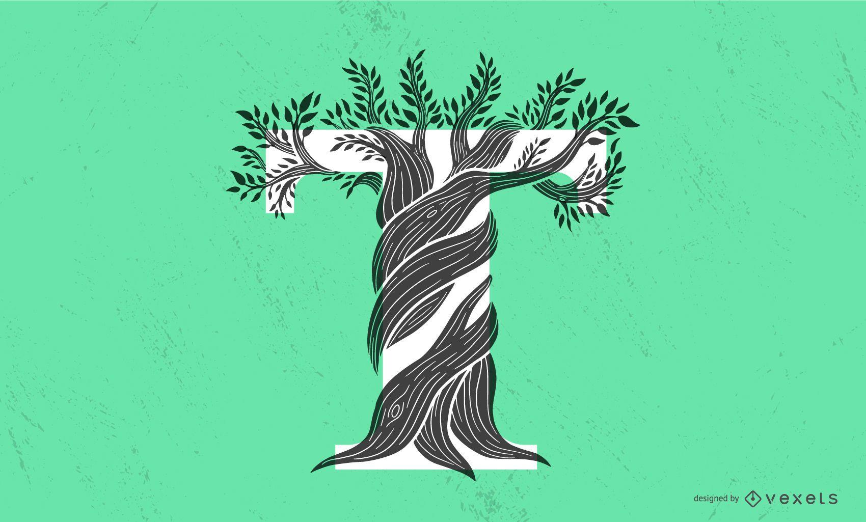 Letter T Tree Typography Design
