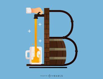 Diseño de tipografía de cerveza letra B