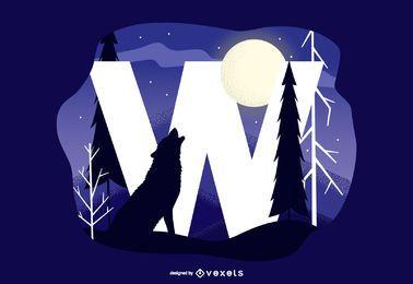 Letra W, uivando, lobo, tipografia, desenho