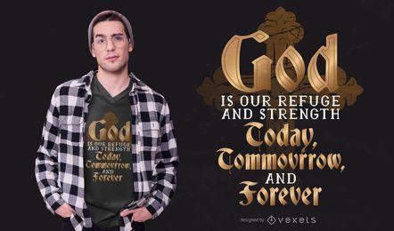 Diseño de camiseta con letras de dios