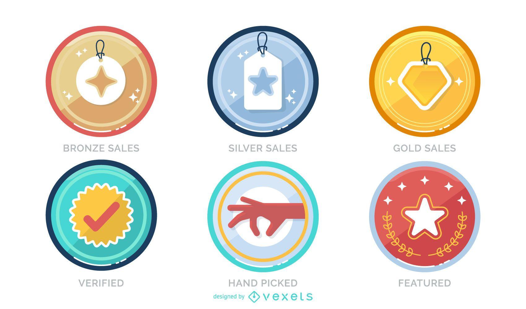 Conjunto de diseño de insignias de logro de ventas