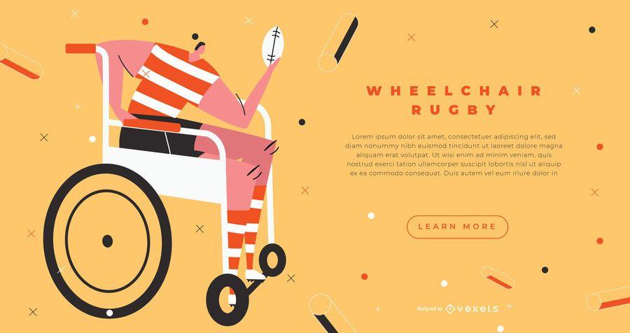 Página de destino de rugby em cadeira de rodas
