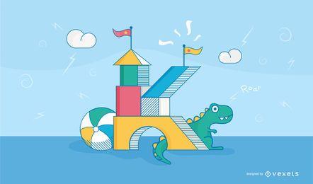 Letra K crianças castelo tipografia Design