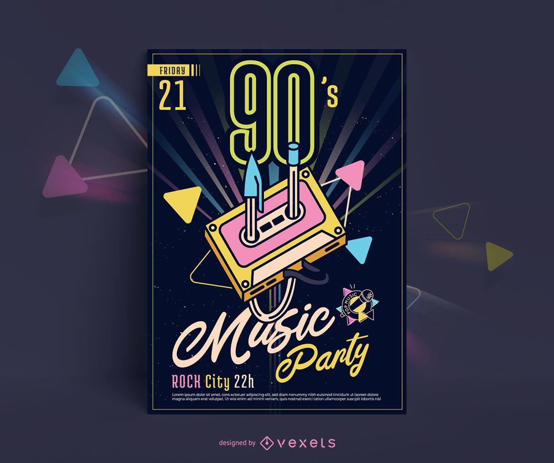 90s Music Poster Design