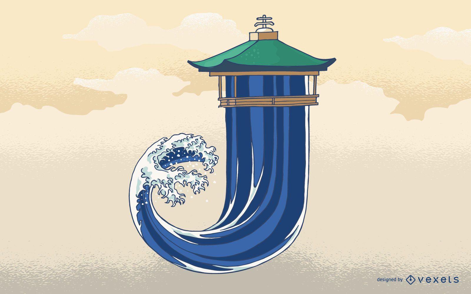 Letter J Japan Wave Typography Design