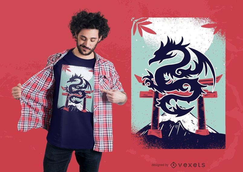 Diseño de camiseta japonesa del dragón