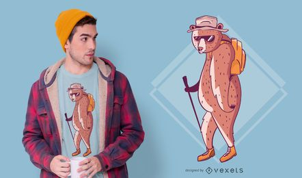 Diseño de camiseta de oso de senderismo