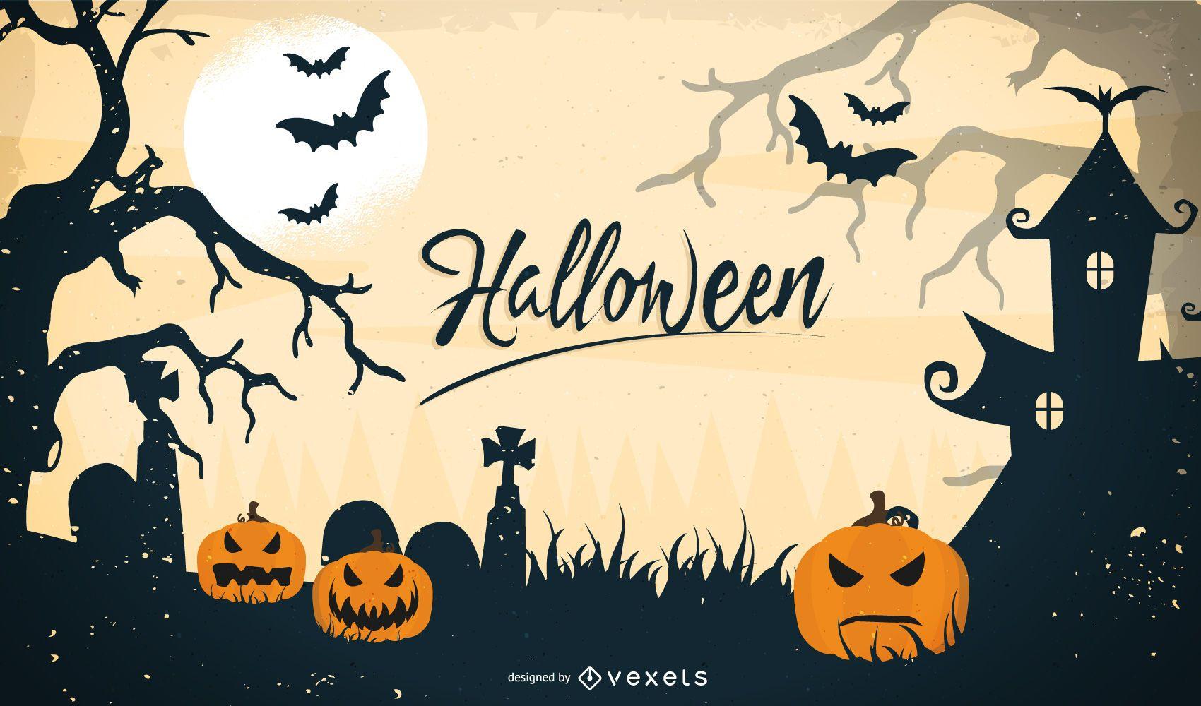 Creepy Pumpkin Halloween Scene