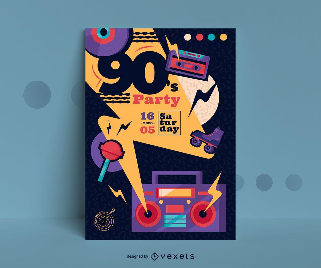 Plantilla de diseño de cartel de fiesta de los 90