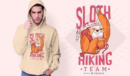 Design de t-shirt da equipe de caminhada de preguiça