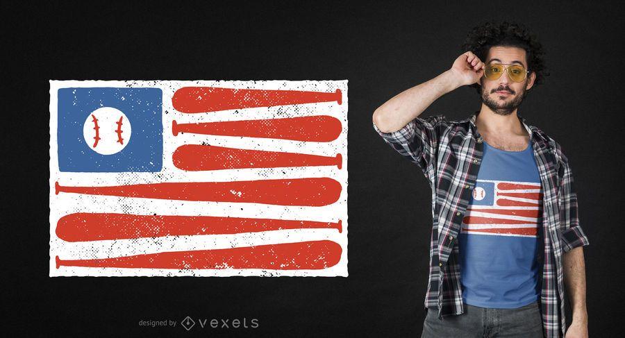 Baseball amerikanische Flagge T-Shirt Design
