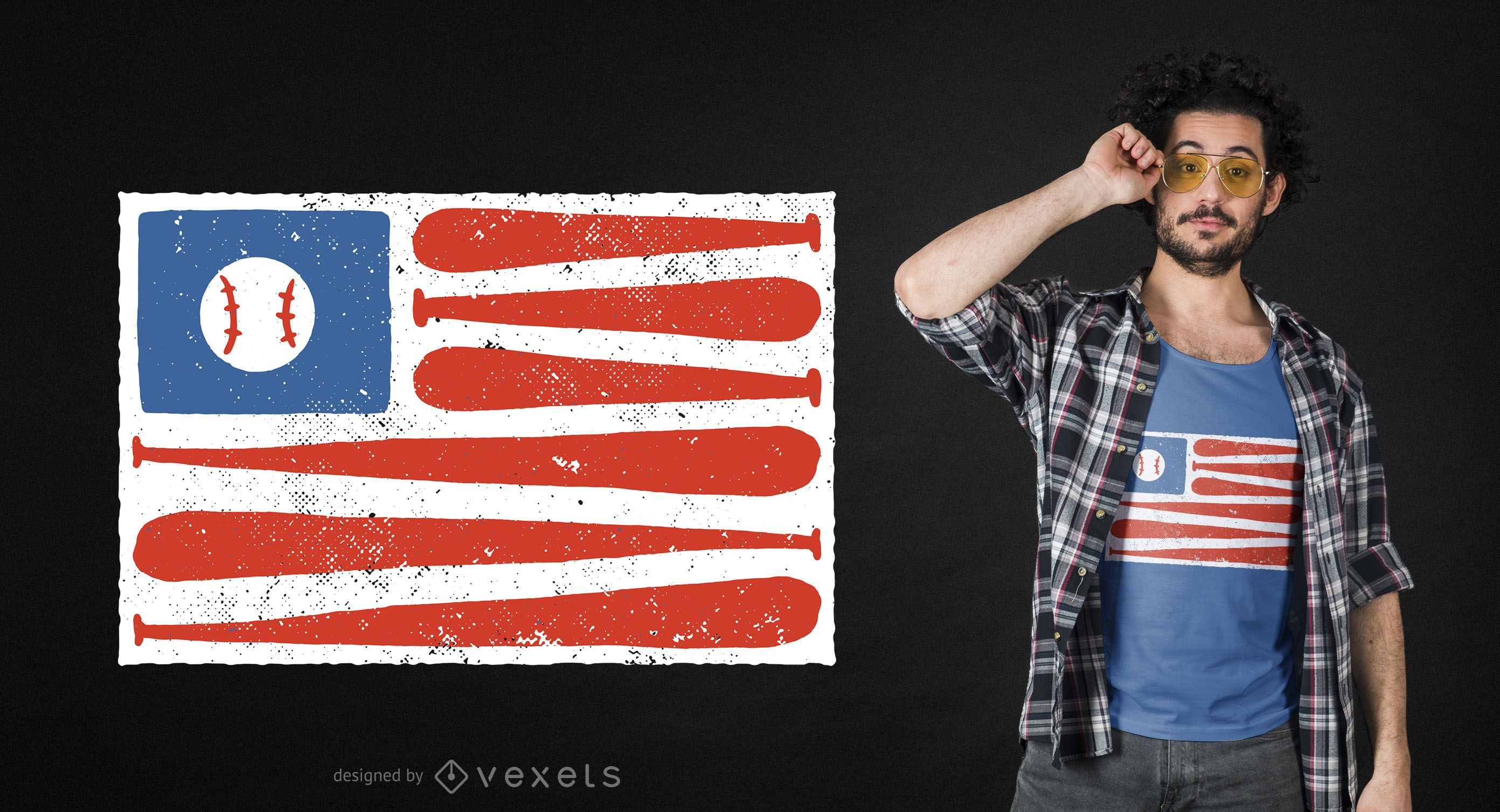 Baseball american flag t-shirt design