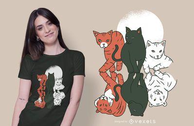 Diseño de camiseta de gatos y felinos