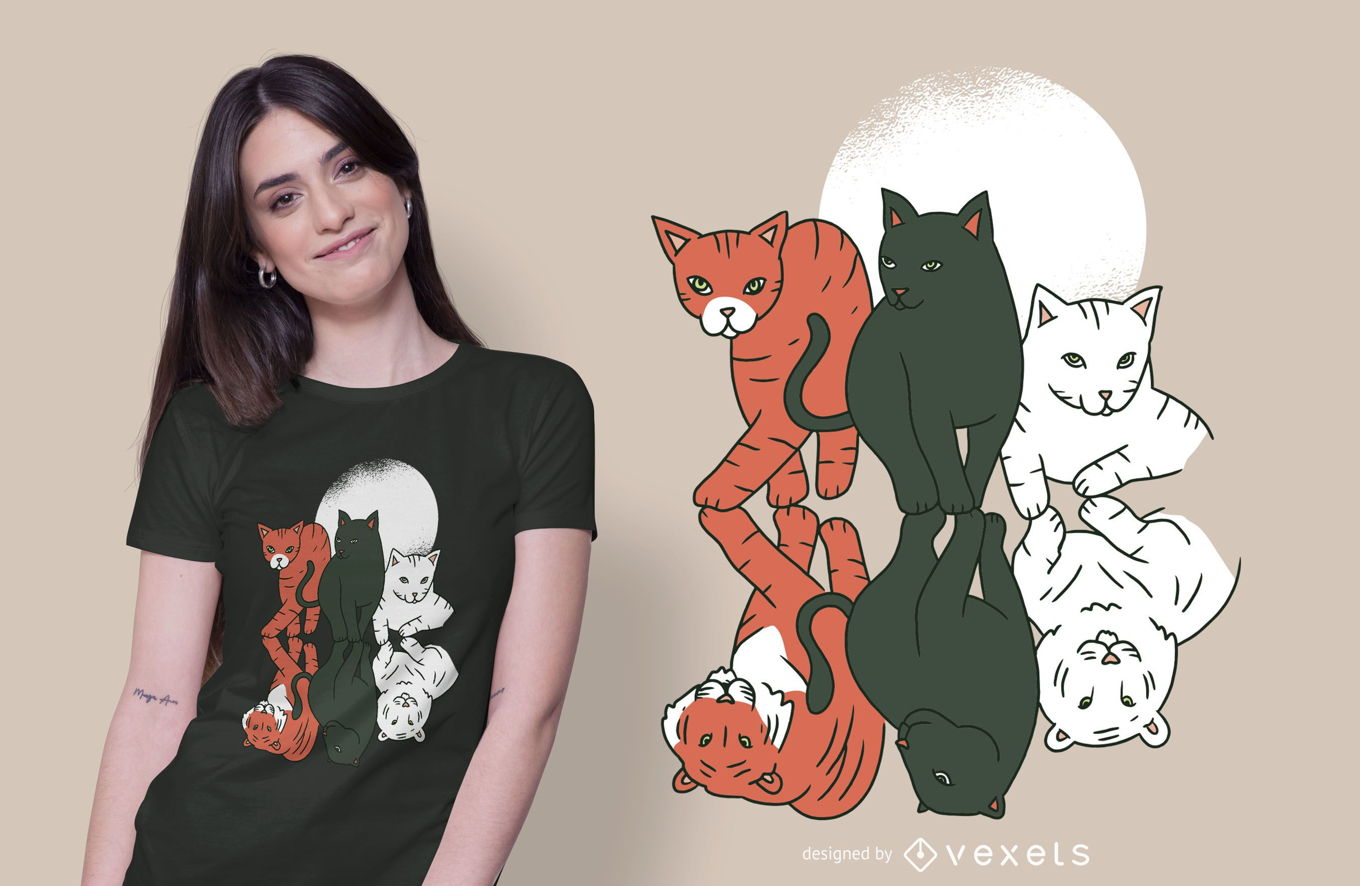 Dise?o de camiseta de gatos y felinos.