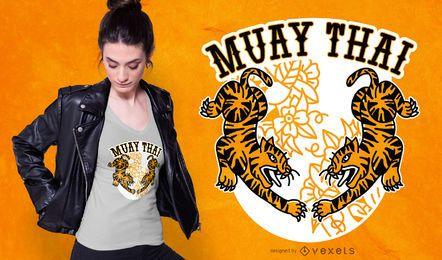 Design de t-shirt de tigres tailandeses de Muay