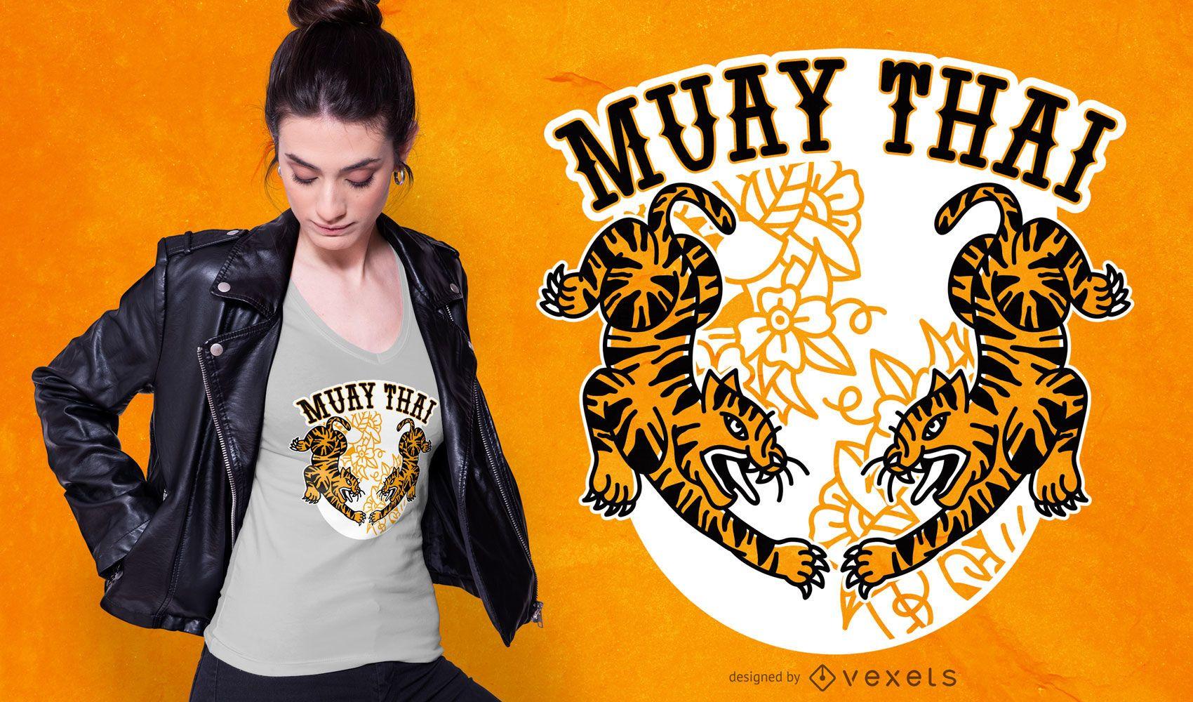 Design de camisetas do Muay Thai Tigers