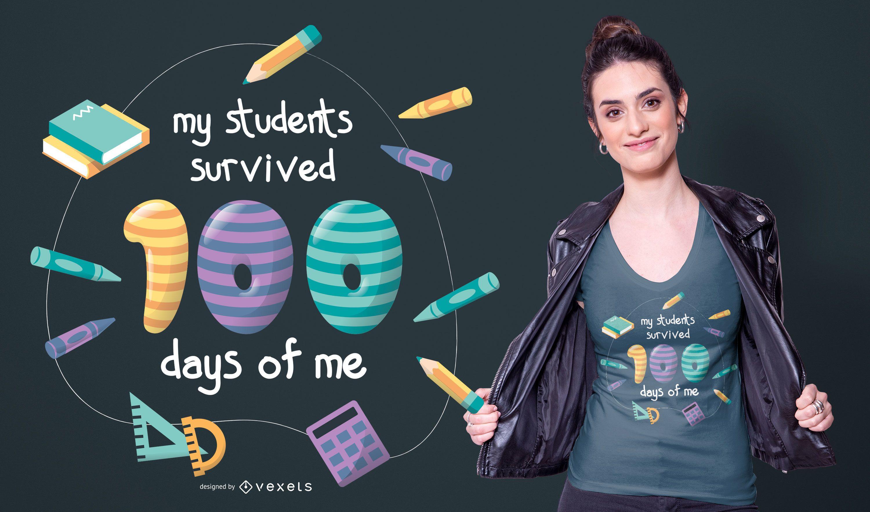 Diseño de camiseta de cita de maestro de escuela