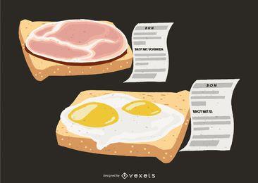 Ilustración de comida de huevos de jamón de pan