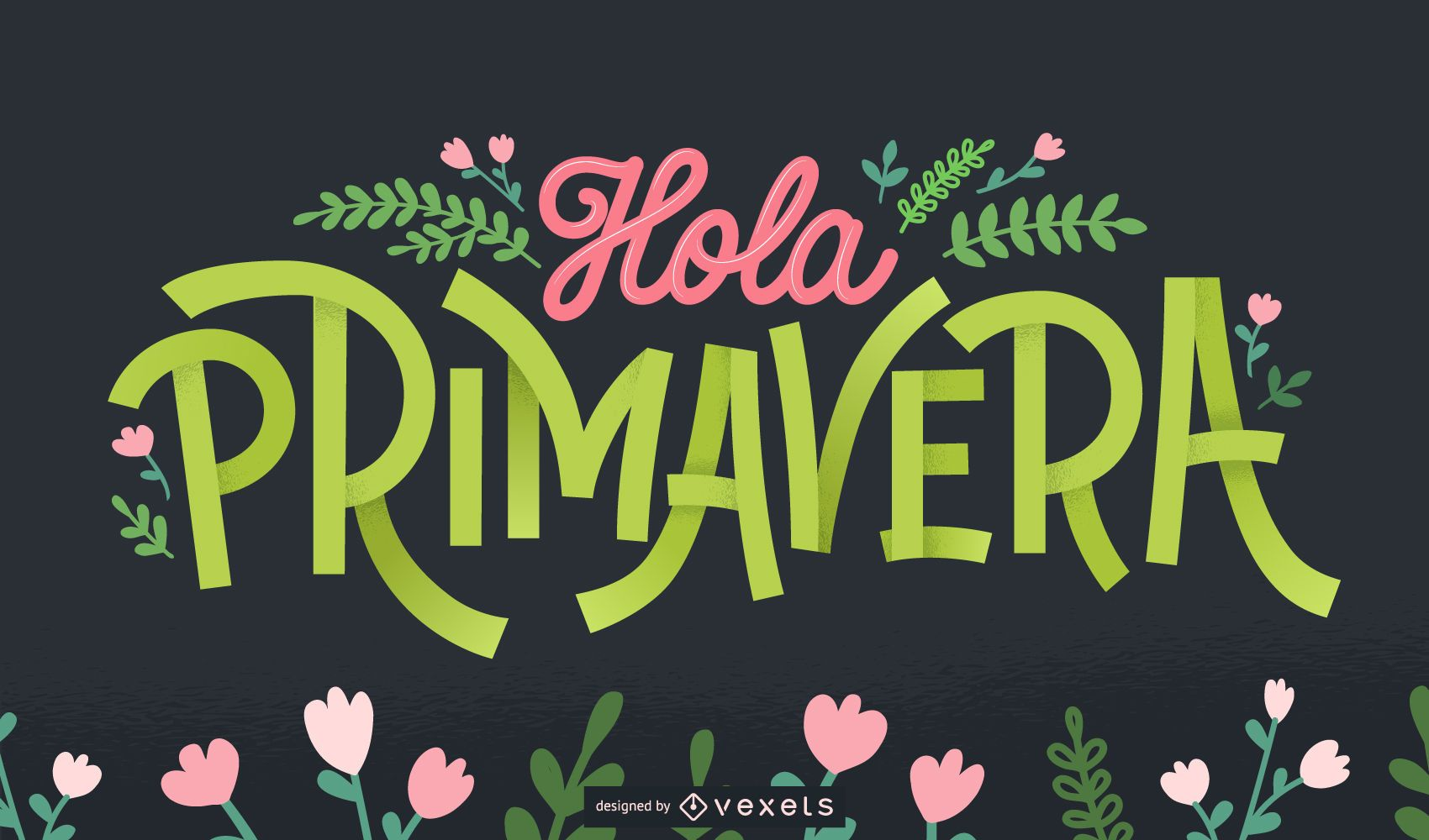 Welcome Spring spanish lettering