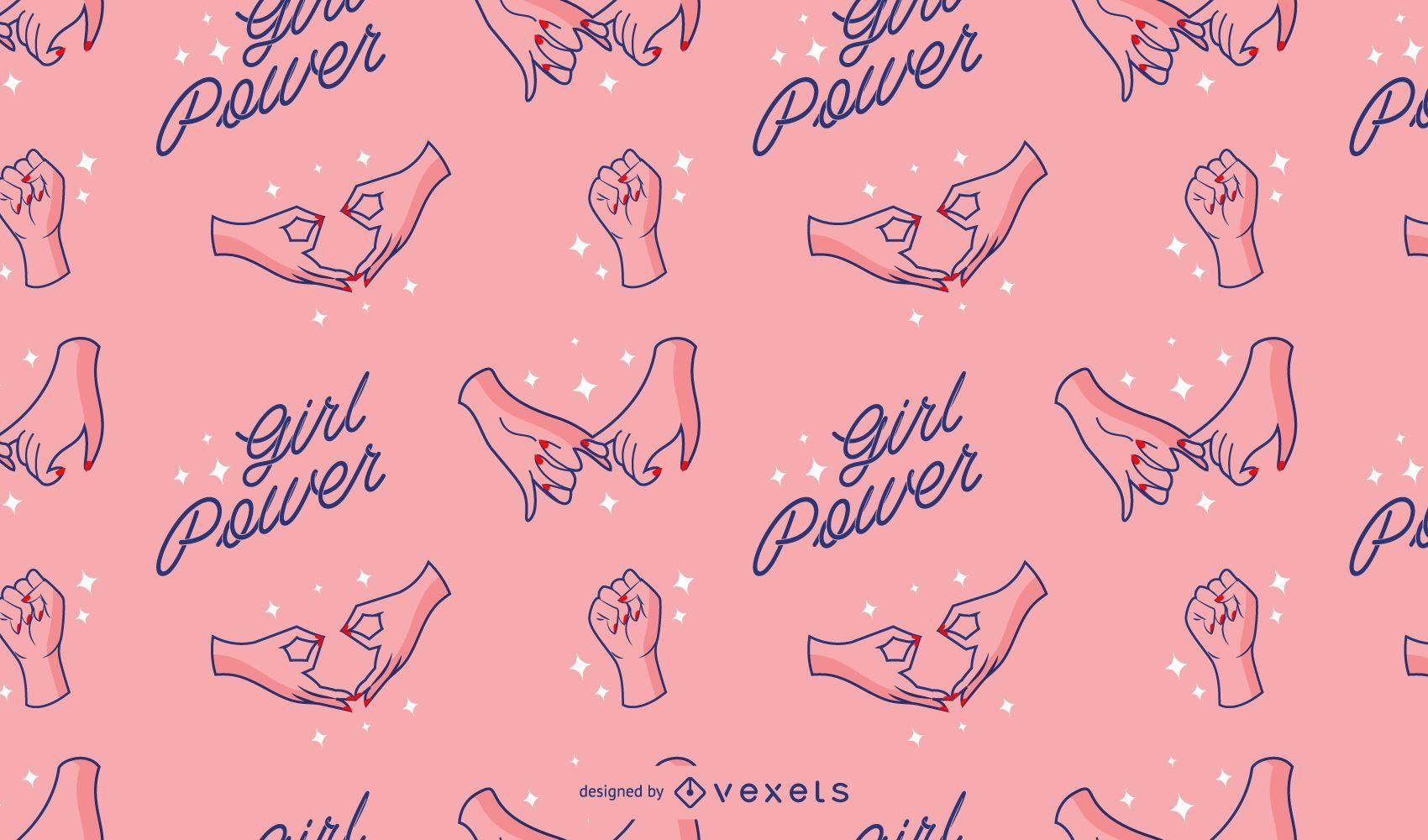 Patrón del día de la mujer girl power