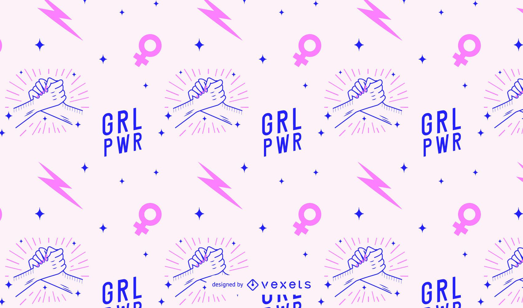 Grl pwr women's day pattern