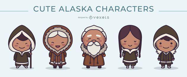 Lindo paquete de diseño de personajes de Alaska