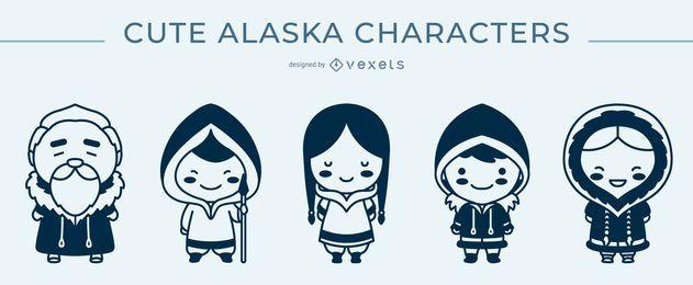 Paquete monocromático de personajes lindos de Alaska