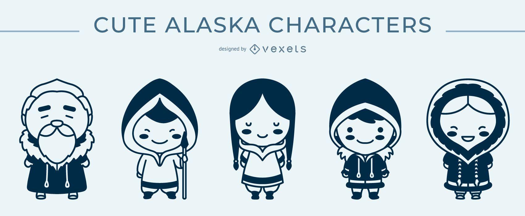 Paquete monocromo de personajes lindos de Alaska