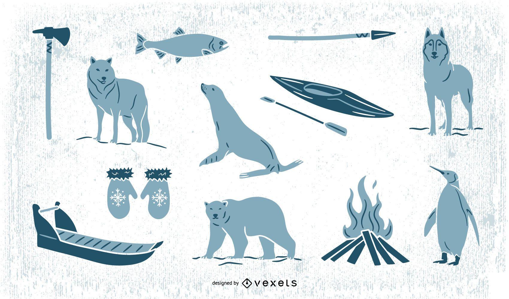Paquete de elementos esquimales Doodle Monocolor