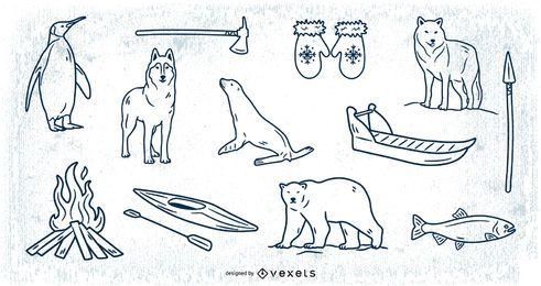 Paquete de elementos de trazo de doodle esquimal