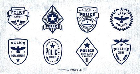 Paquete de diseño de trazo de insignia de policía