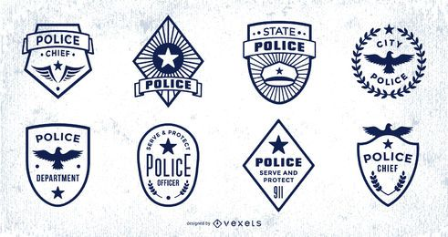 Police Badge Stroke Design Pack