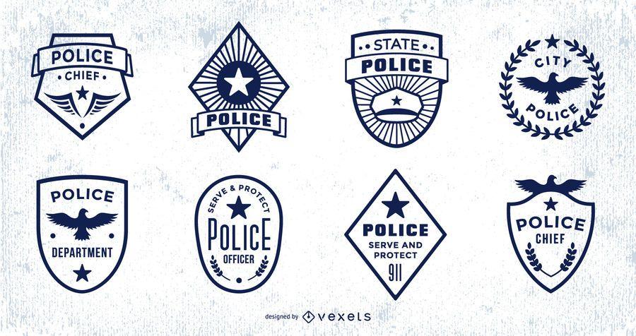 Police Badge Stroke Design Pack