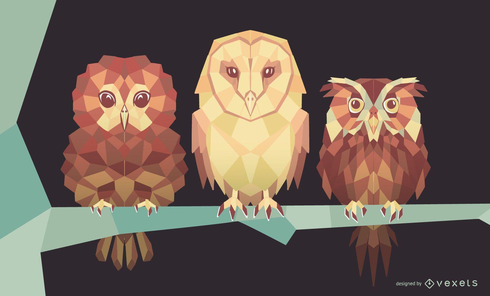 Geometric Owl Design Pack