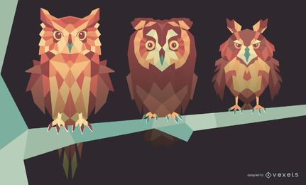 Geometric Owl Illustration Set