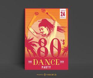 Design de pôster para festa dançante dos anos 80