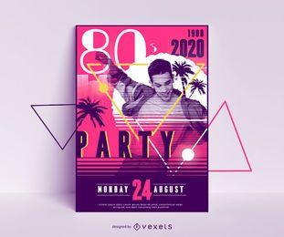 Design de cartaz de festa dos anos 80