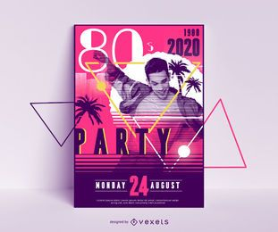 Design de cartaz para festa dos anos 80